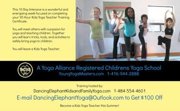 PA - 10 Day Summer Certification Kids Yoga Teacher Training