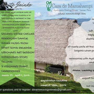 10 Day Dream Weaving and Ayahuasca in the Amazon with Maite Jainkos